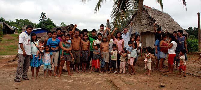 Matses Village in Peruvian Amazon Rainforest photo