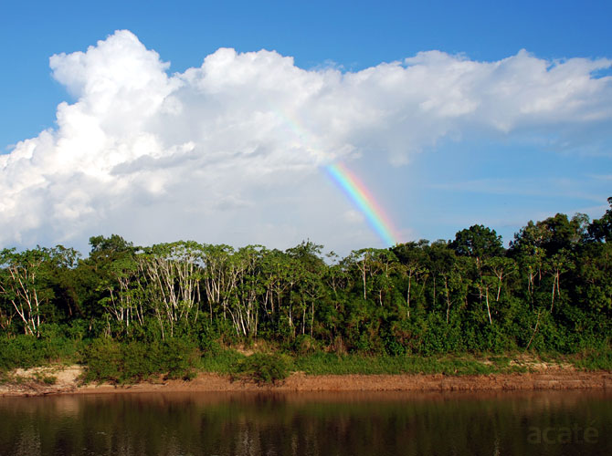 rainbow and clouds over amazon rainforest river