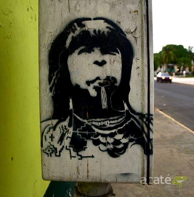 Iquitos Peru street art indigenous stencil