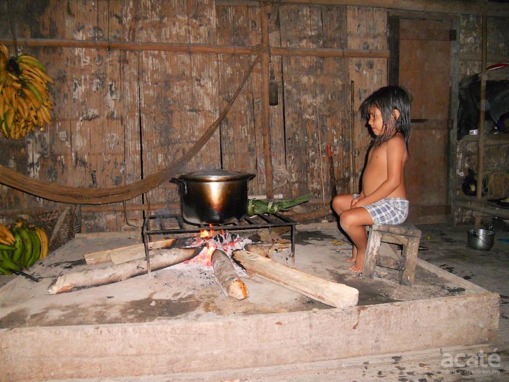 Matsés child watching pot boil