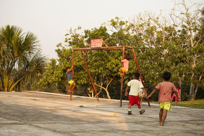 Matsés children playing on goal posts Alicia Fox