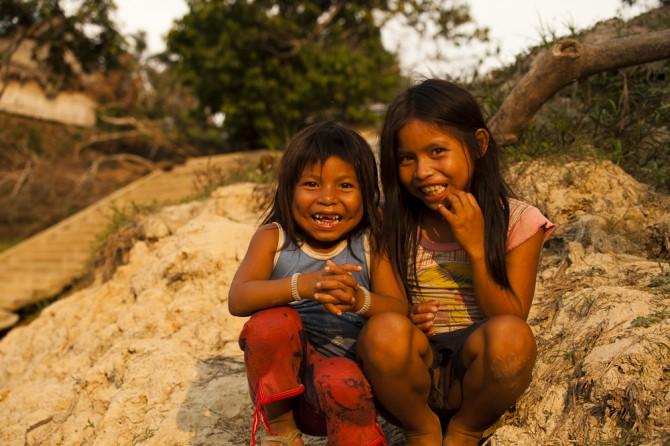 Matsés children playing on river bank Alicia Fox