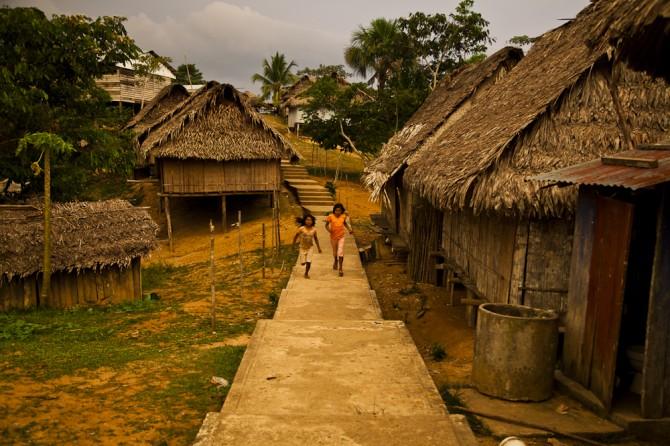 Matsés village Amazon huts Alicia Fox